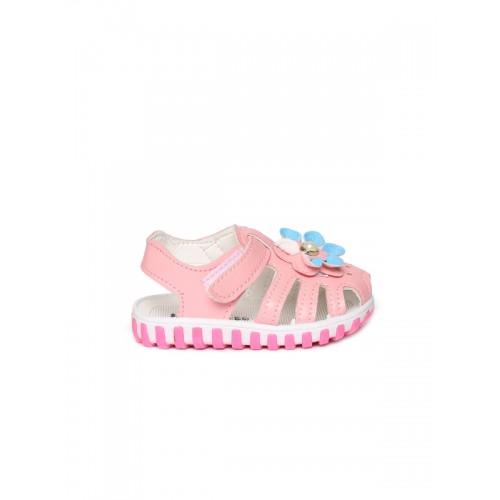 Kittens Girls Pink Embellished Open Toe Flats