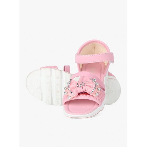 Kittens Pink Synthetic Bow Sandals