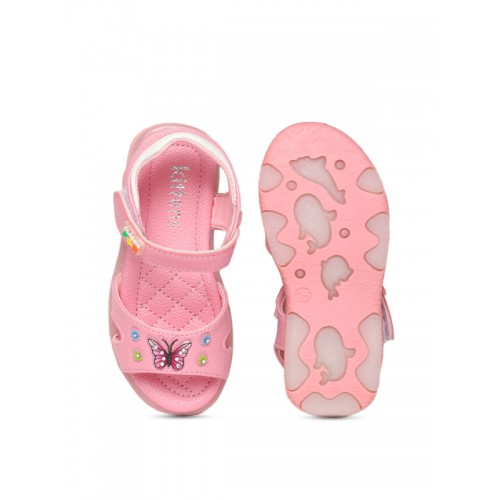 Kittens Girls Pink Embellished Open Toe Flats With LED Lighting