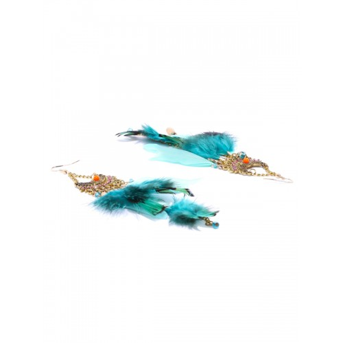 Pipa Bella Blue & Antique Gold-Toned Feather Drop Earrings