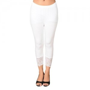 You Forever White Solid Viscose Short Leggings