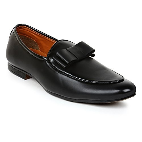 BUWCH Black Synthetic Slip On Loafers Shoes