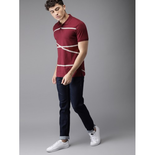 HERE&NOW Men Maroon Cotton Striped Polo Collar T-shirt