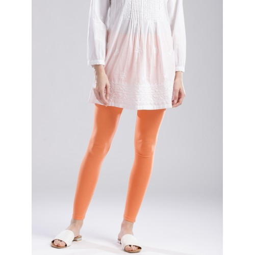 W Women Coral Orange Solid Ankle-Length Leggings