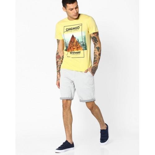 ALCOTT Yellow Cityscape Print Crew-Neck T-shirt