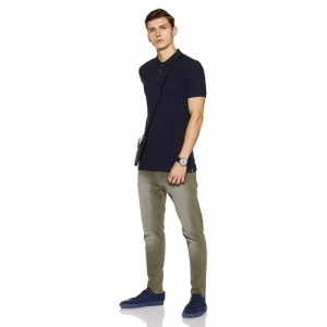 United Colors of Benetton Navy Blue Cotton Solid Polo T-Shirt