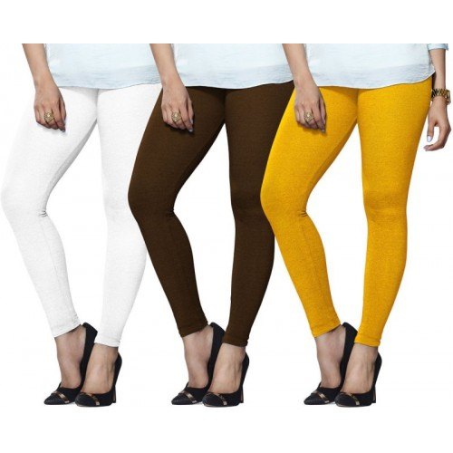 9e9ea43638795 Buy Lux Lyra Legging(White, Brown, Yellow, Solid) online | Looksgud.in