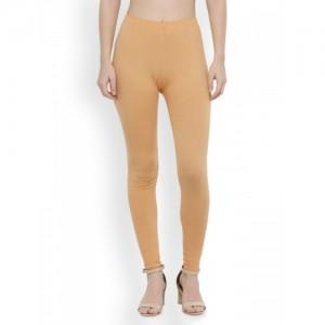 N-Gal Women Beige Ankle Length 4-Way Cotton Leggings
