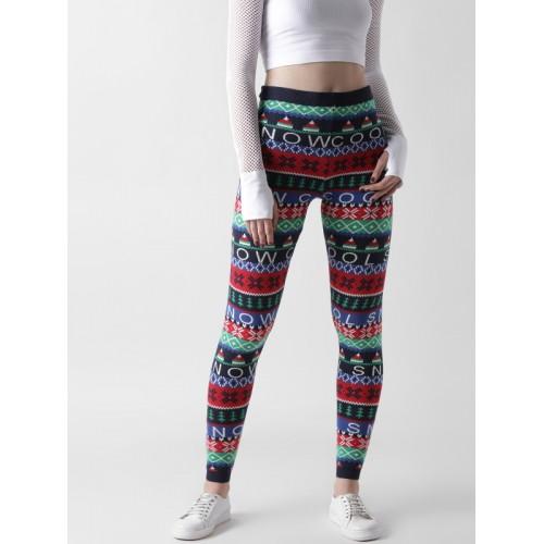 2063b7bd0b Buy FOREVER 21 Multicoloured High-Rise Patterned Leggings online ...