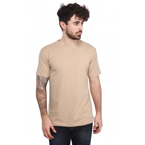 a58012da2826 ... Mr. Stag Plain Men's Round Neck Beige Half Sleeves T-shirt Medium ...