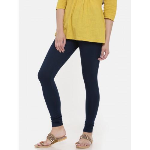 Global Desi Women Blue Solid Churidar Length Leggings