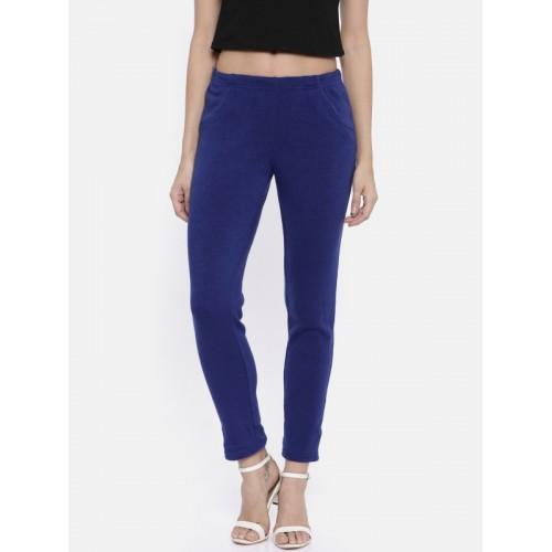 Global Desi Women Blue  Solid Leggings