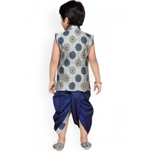 Aj DEZInES Boys Grey & Navy Embellished Dhoti Set with Woven Design
