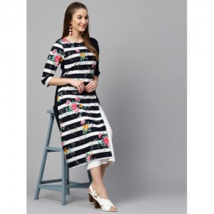 Nayo Women Navy Blue & White Striped A-Line Kurta