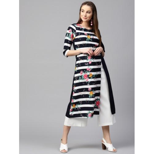Nayo Women Navy Blue & White Striped A-Line Kurta