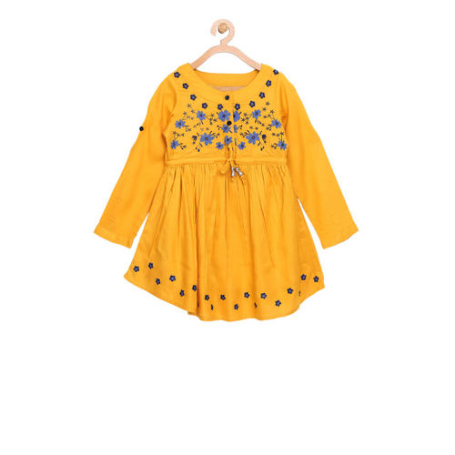Bella Moda Yellow Solid Embroidered Fit and Flare Dress