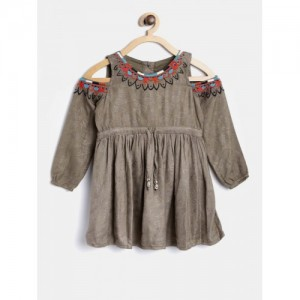 Bella Moda Girls Olive Green Fit and Flare Dress