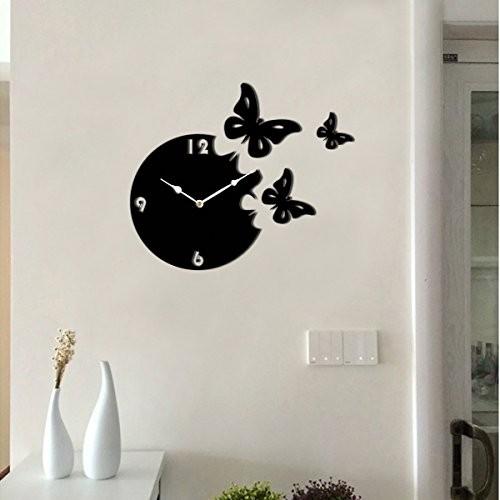 Sehaz Artworks 'Moon Butterfly Asymetric' Wood Wall Clock
