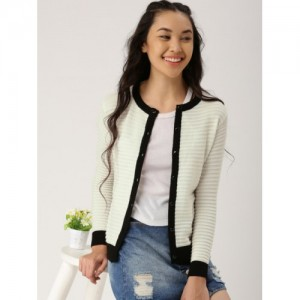 DressBerry Off White Self Pattern Sweater