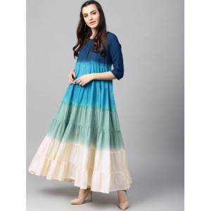 AKS Women Navy Blue & Green Ombre Dyed Anarkali Kurta