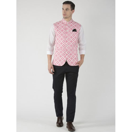 Hangup Cream & Pink Cotton Viscose Printed Nehru Jacket