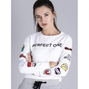 Kook N Keech Women White Printed Sweatshirt