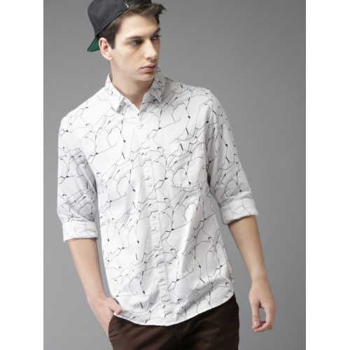 HERE&NOW Men White & Navy Blue Printed Casual Shirt