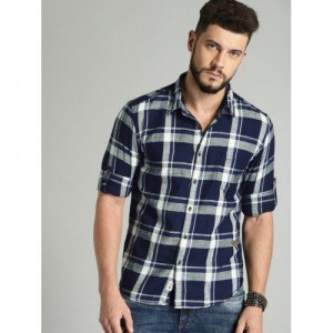 563c43668 Men's Shirts On Jabong (9745 items). Roadster Men Navy & Off-White Slim Fit  Checked ...