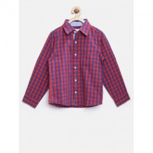 Nauti Nati Boys Red & Blue Checked Casual Shirt