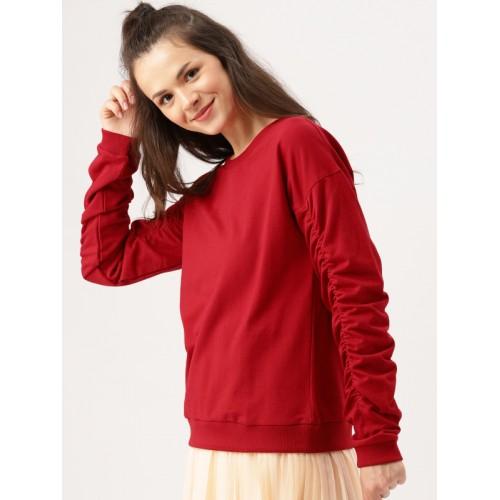 b6a9b1aeb47 Buy DressBerry Women Red Cotton Solid Sweatshirt online