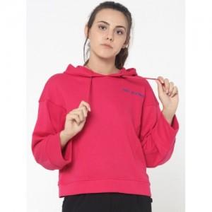 ONLY Pink Solid Long Sleeves Hooded Sweatshirt