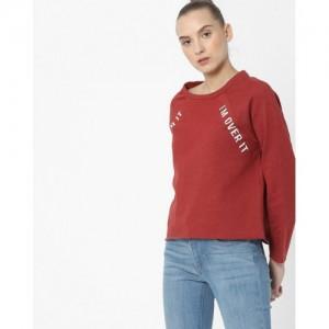 ONLY Red Typographic Print Sweatshirt