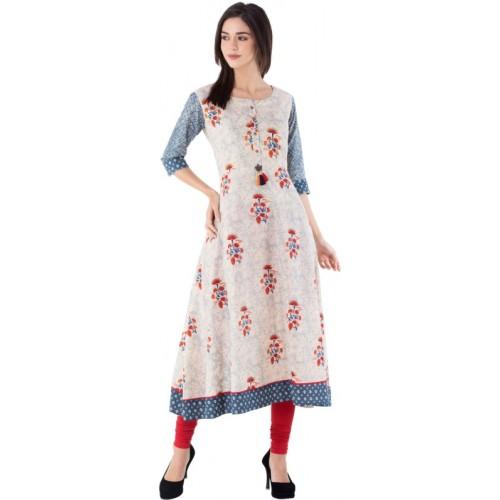 Gulmohar Jaipur Off White Cotton Printed A-line Kurta
