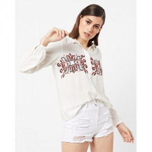Vero Moda White Cotton Shirt with Contrast Embroidery