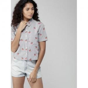 FOREVER 21 Women Navy Blue & White Regular Fit Striped Casual Shirt