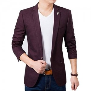 Creative Men's Maroon Cotton Blazer