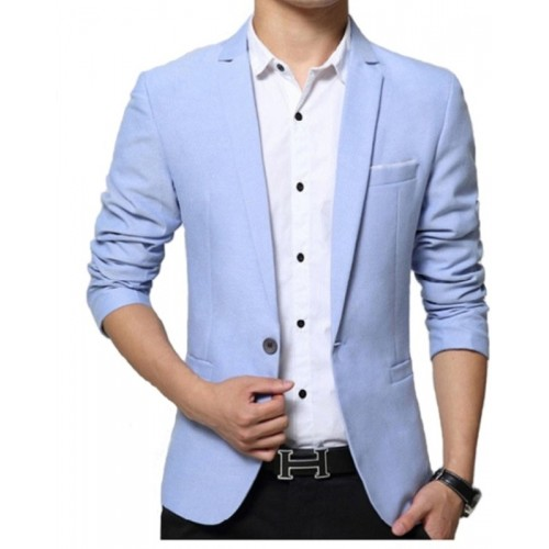 One Click Light Blue Solid Single Breasted Casual Men's Blazer