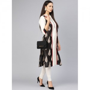 Shree Black & Off-White Printed Straight Kurta