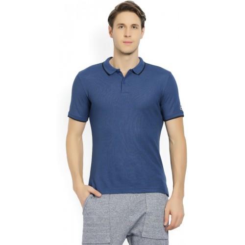 REEBOK Woven Men's Polo Neck Blue T-Shirt