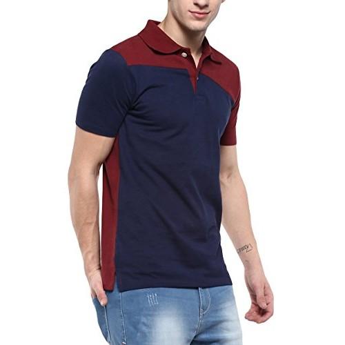 Urbano Fashion Men's Maroon, Navy Half Sleeve Cotton Polo T-Shirt