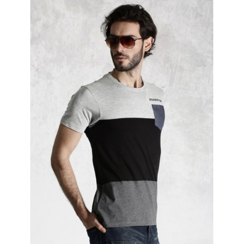 Roadster Grey & Black Cotton Colourblock T-shirt