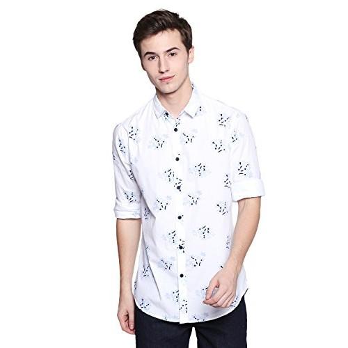 Dennis Lingo Men's Printed White Slim Fit Casual Shirt