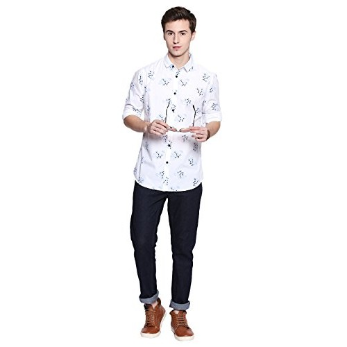 Dennis Lingo Men's Printed White Slim Fit Casual Shirt