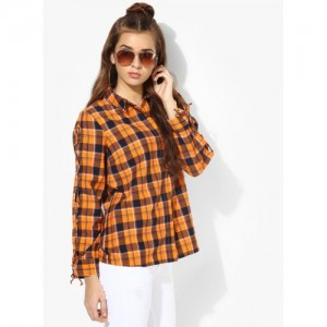 Vero Moda Orange Checked Shirt