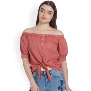 Vero Moda  Pink Cotton Solid Bardot Top