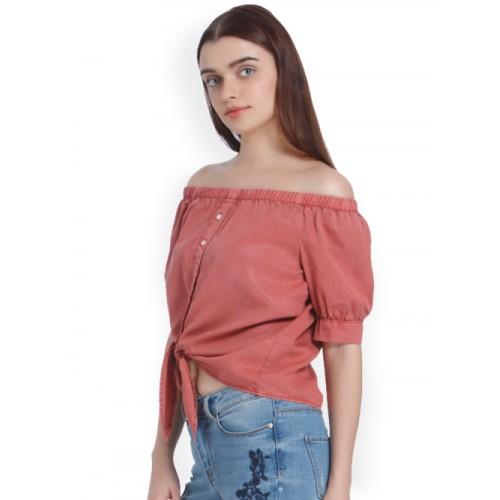 Vero Moda  Pink Cotton Solid Bardot Top