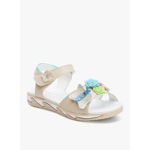 Kittens Beige Leather Floater Sandals