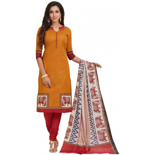 Ishin Orange Cambric Cotton Printed Salwar Suit Dupatta Material