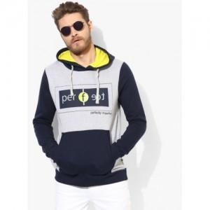 United Colors of Benetton Grey Melange Printed Sweatshirt