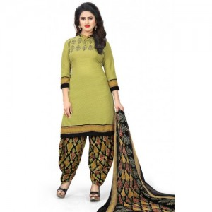 Swaron Green Crepe Printed Unstitched Dress Material